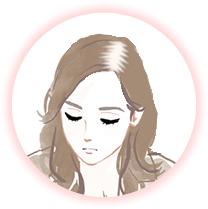 髪の分け目が薄い女性のイメージ