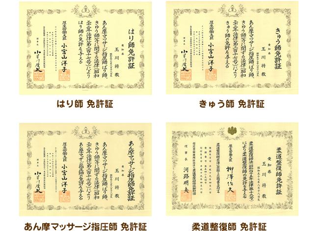 はり師・きゅう師・あん摩マッサージ指圧師・柔道整復師免許証