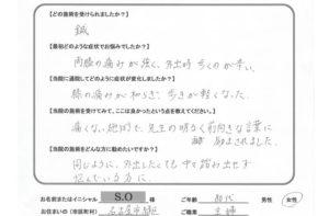 名古屋市緑区 膝痛 80代女性 S.Oさん